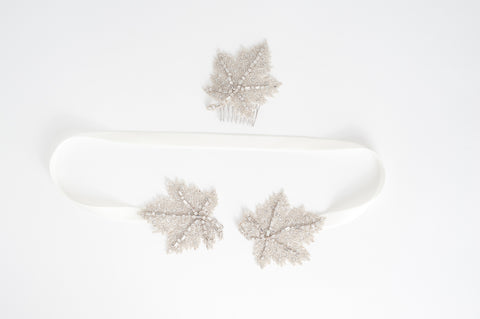 Beaded Maple leave bridal comb - HP170693