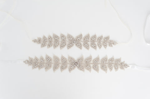 Ultimate beaded leaves vine wedding sash SB170692 FOLIAGE