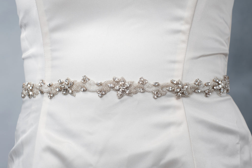 Skinny beaded vine wedding sash SB170714