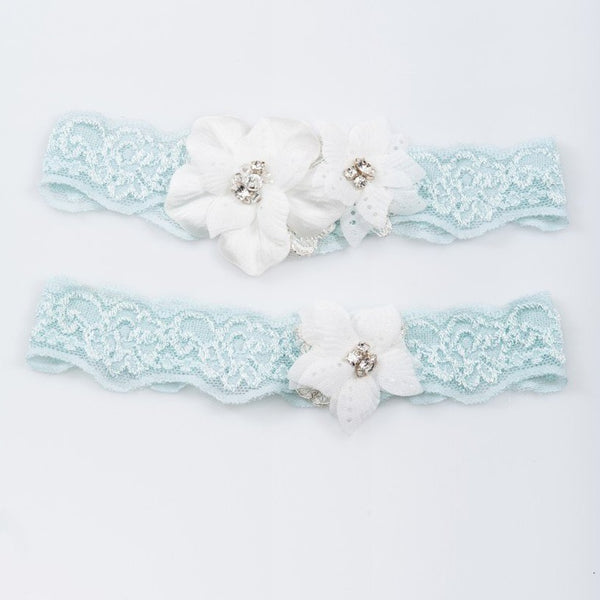 Something blue lace garter set with lace flowers
