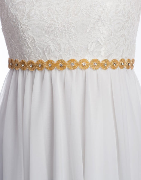 gold beaded bridal sash - RONDA - 150049