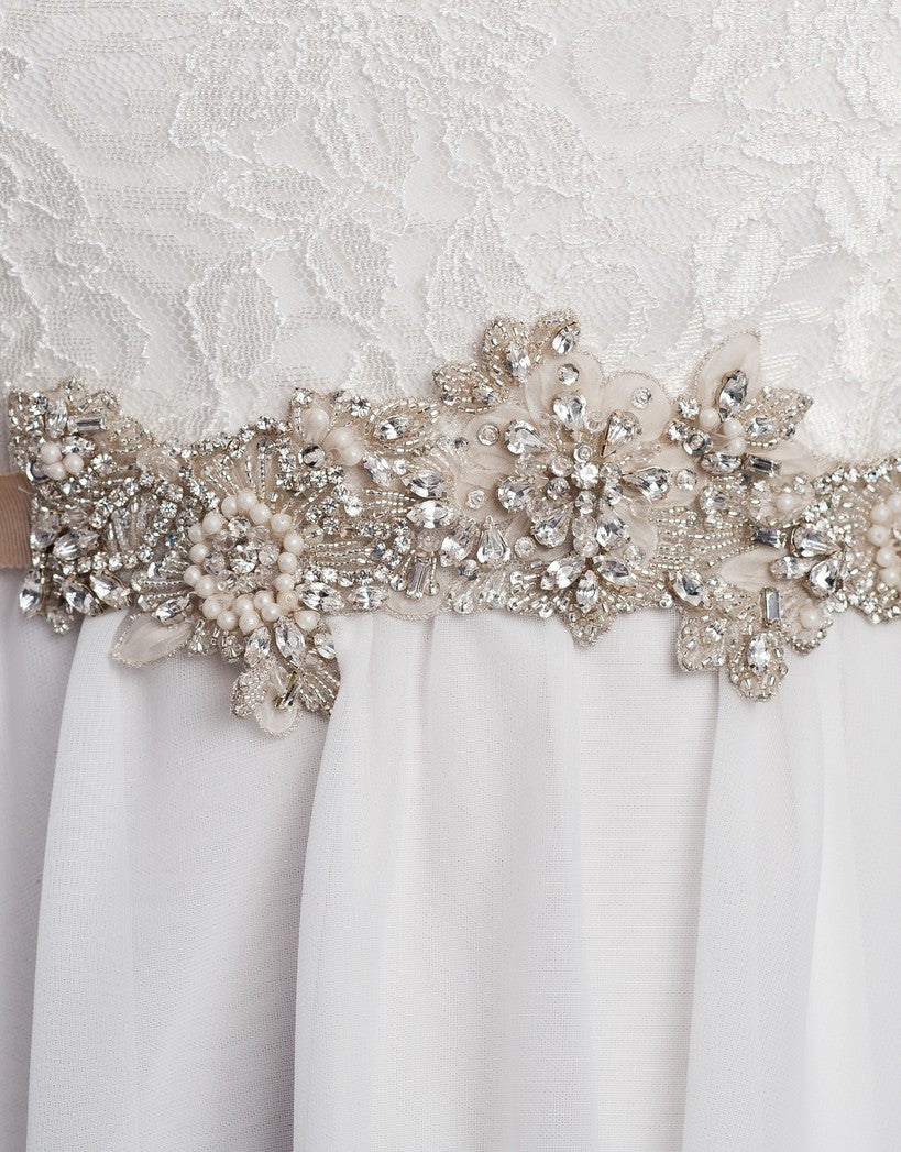 Small Belinda beaded wedding sash  - 150057