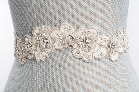 blossom beaded embroidered wedding sash SB160119