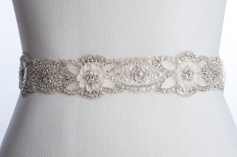 GIULIA  hand beaded wedding sash