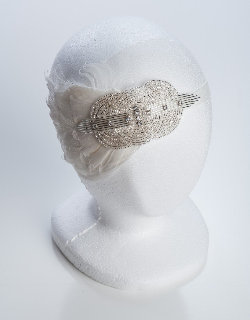 Art Deco 1920's wedding headband with feathers