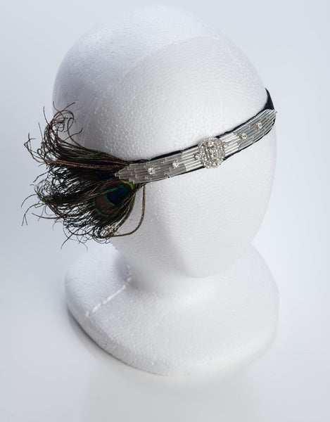 Peacock flapper headband