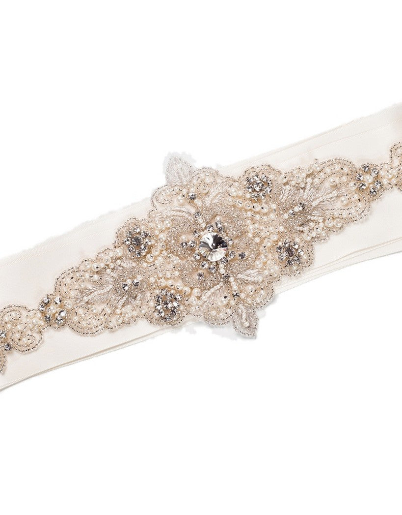 Liza embroidered crystal sash
