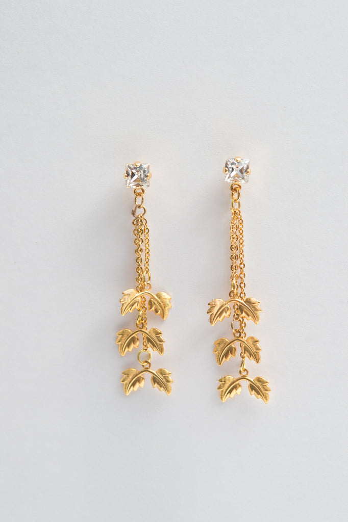 cascade leaves dangler crystal earrings - style 20048