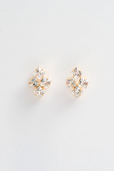 losange square crystal studs earring - style 20039