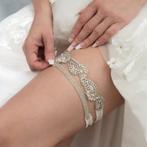 beaded vine garter set - style 20061