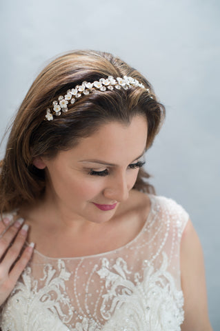floral and crystal vine headpiece - style 20024