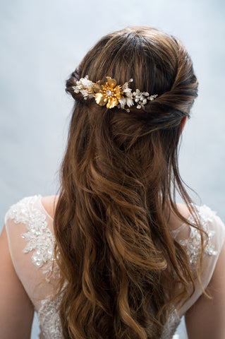 gold plated brass flower headpiece - style 20019
