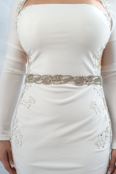wavy crystal beaded belt - style 20052