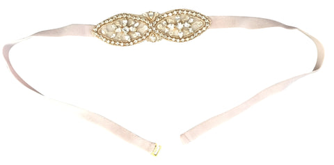 Fitted bridesmaids belts with golden beading (as seen on BHLDN)