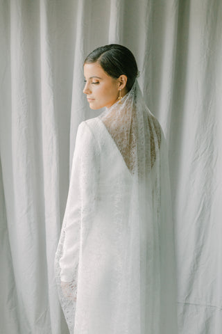 wedding veil with lace fabric, lace bridal veil - Promesse Style 21037