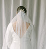 wedding veil with scattered pearls, raw edge bridal veil - ETREINTE Style 21038