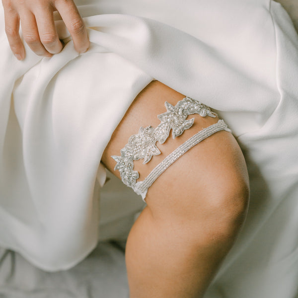 Unique beaded garter set, bridal garter set - BOHEME style 21027
