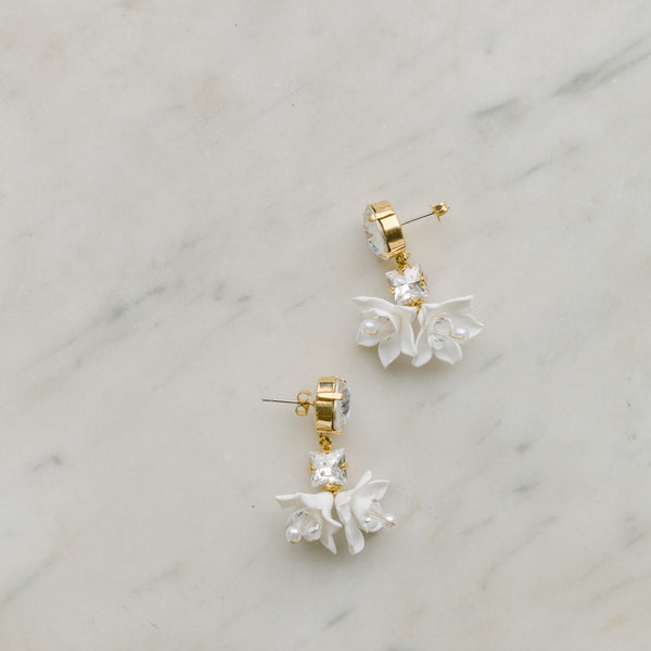 bridal flowers earrings with swarovski crystal - FRAICHEUR style 21008