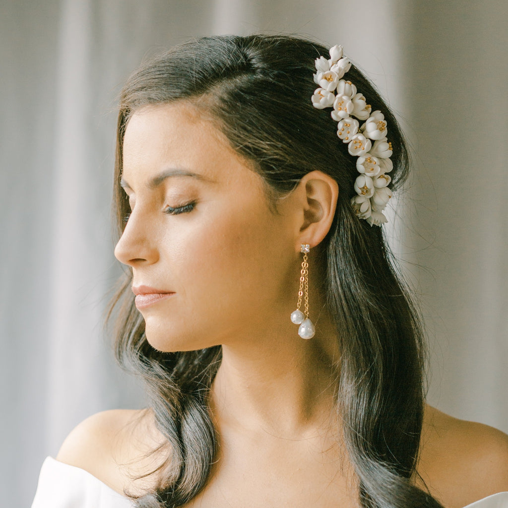 wedding headpiece, bridal hair comb with cluster clay flowers COQUETTERIE style 21040