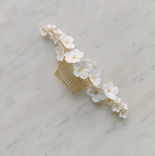 blossoms bridal headpiece, wedding hair comb, BRISE style 21014