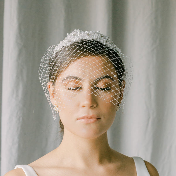 Birdcage headband veil with pearls and crystal beading-SOLEIL style 21028