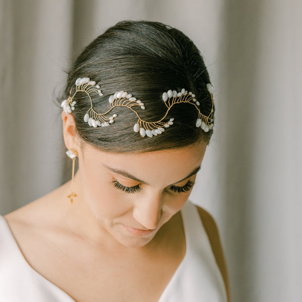 bridal vine headpiece, wedding hair vine with rice pearls, IVRESSE style 21013
