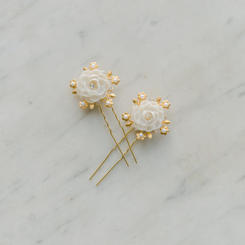 bridal hair pins whith brass and clay flowers, crystal and pearls, DOUCEUR style 21011