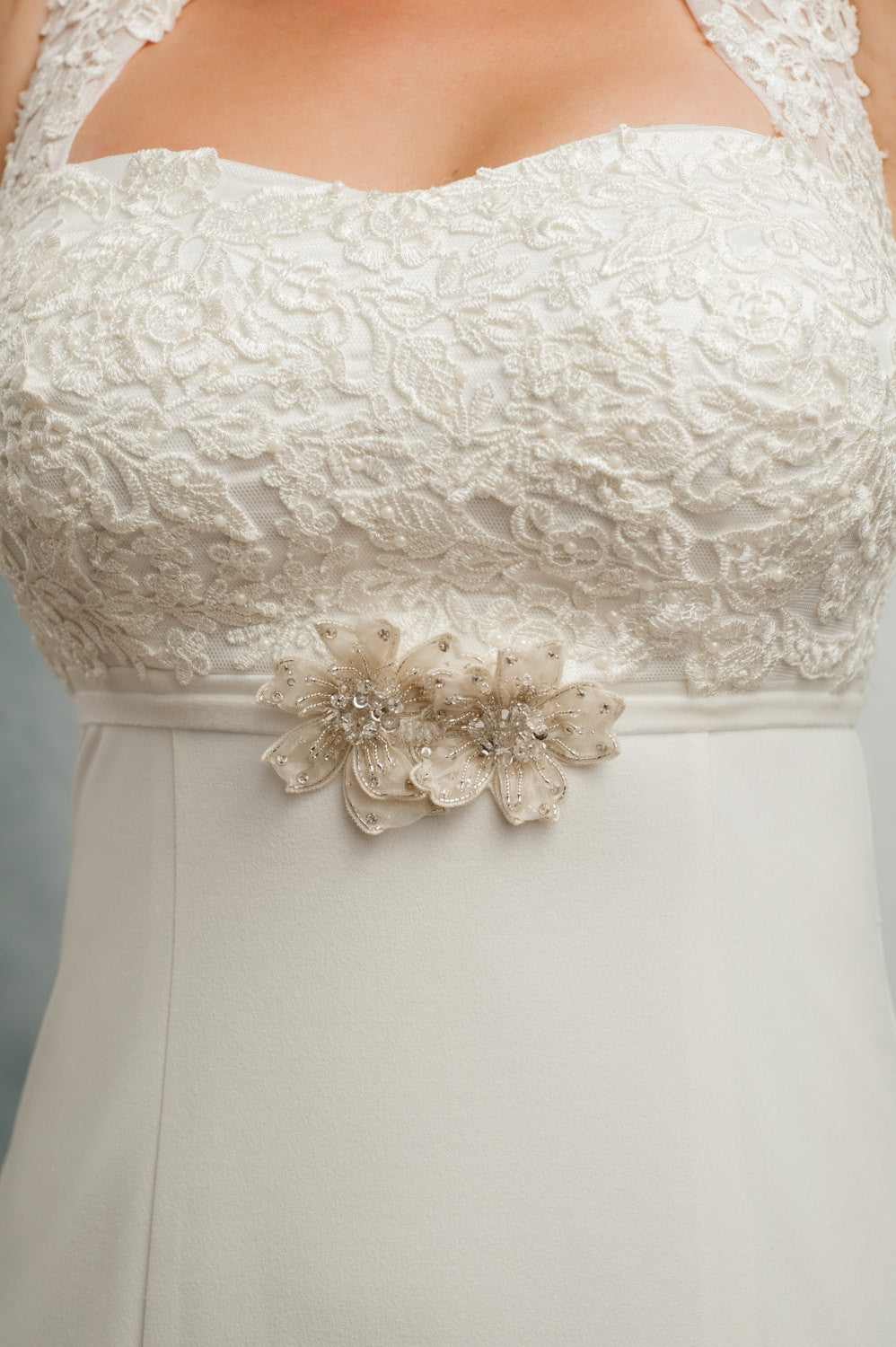 beaded silk flower bridal or bridesmaids belt - SB170682
