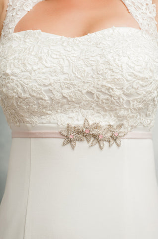Silver beaded Starfish bridesmaids belt SB170688-S