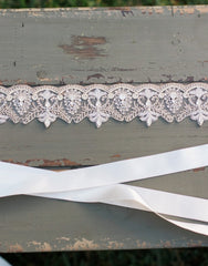 FATOU hand embroidered wedding sash - 150043