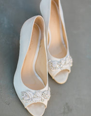 Bridal peep toe pump ivory satin shoes - 150126
