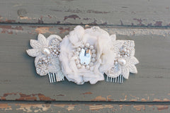 ivory beaded flower comb - Inge - 150012