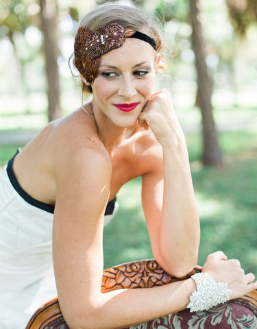 feather flapper headband - 150079 ADDISON