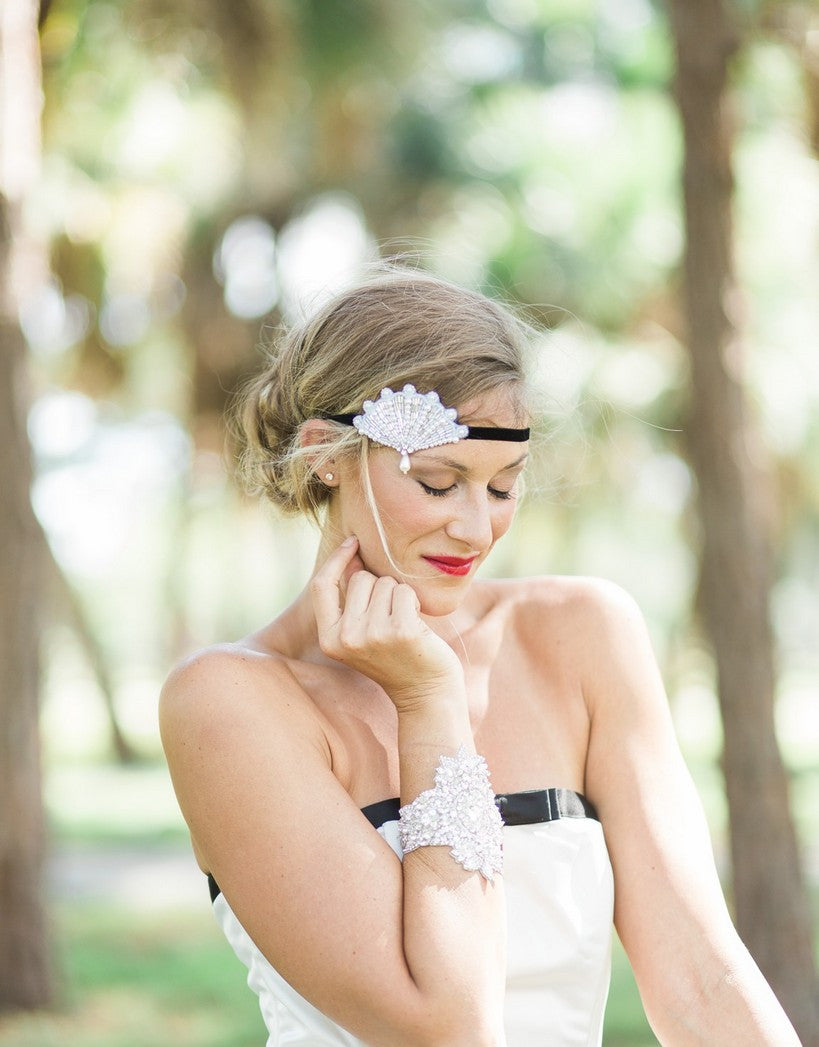 Faux pearls beaded flapper headband - 150080 BETSY
