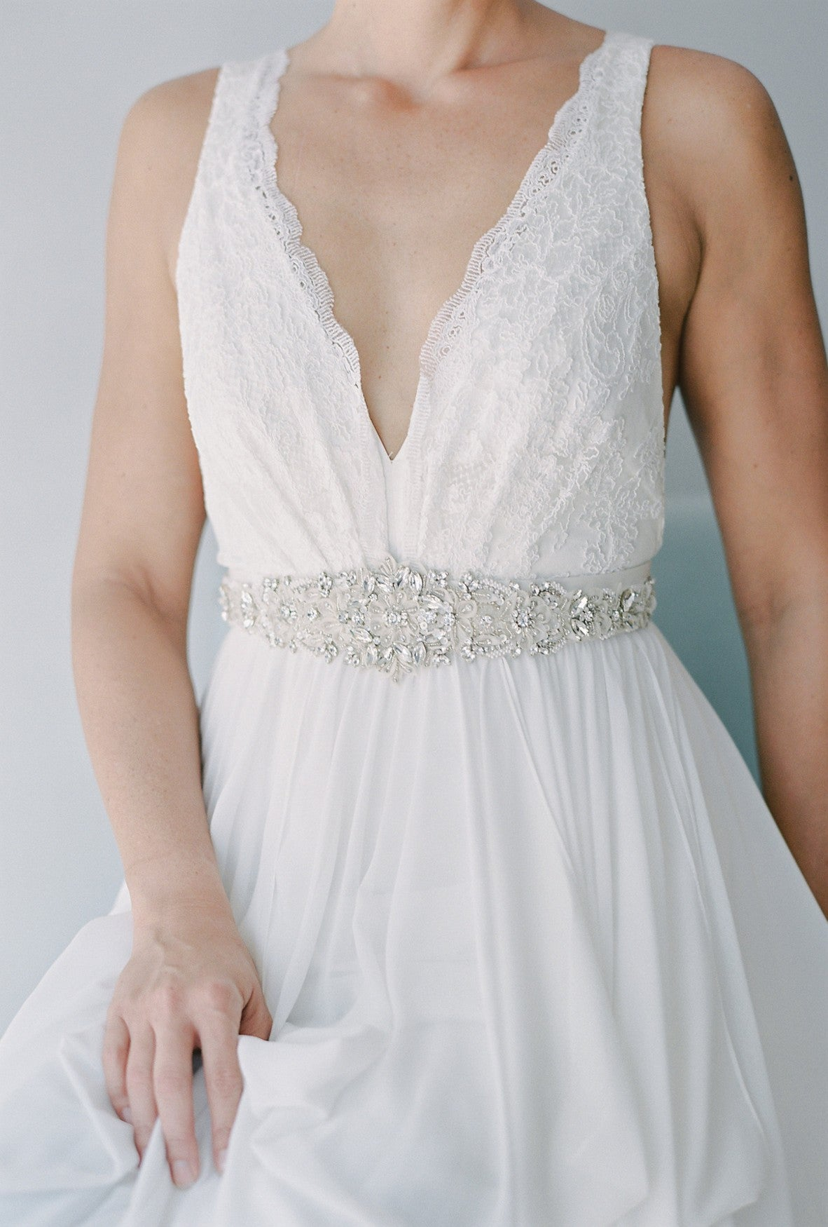 silk petal beaded wedding belt  SB160107