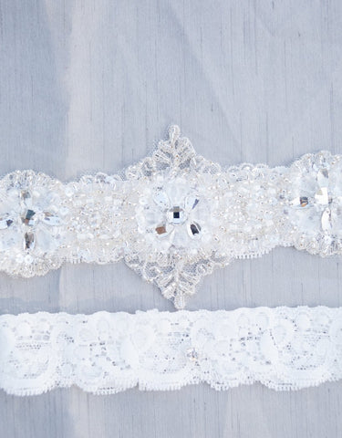 Beaded lace garter set