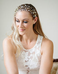 Rhinestines and beads vines headpiece- Gaia - 150206