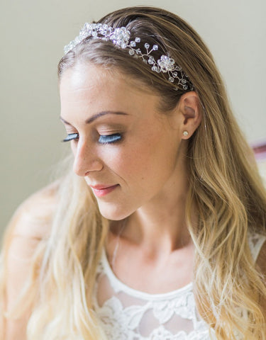 Wedding Crystal wired headband- Amalys - 150208