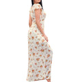 Cklass 966-62 Vestido Maxidress Largo Casual Mujer Estampado Floreado Manga Corta Ivory multicolor