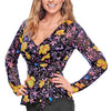 979-67 Blusa Casual Mujer Escote V Manga Larga Peplum Estampado Floreado Color Multicolor
