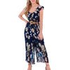 983-42 Jumpsuit Con Forro Mujer Escote V Estampado Floreado Color Azul Marino/Multicolor
