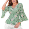 Blusa Casual Mujer Manga De Campana Estampado Floreado Color Menta multicolor
