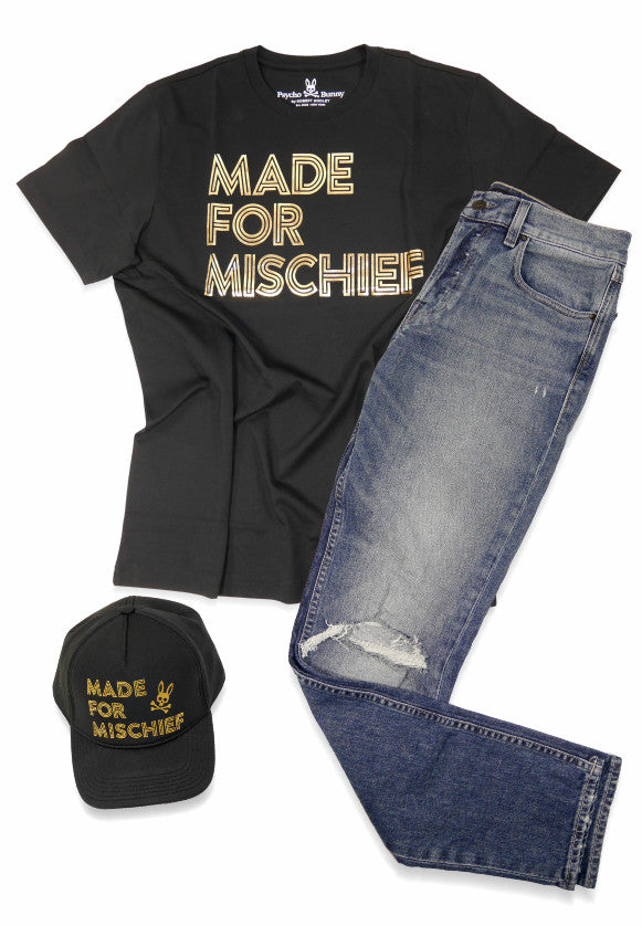 Made for Mischief - Psycho Bunny tee and hat plus Hudson Sartor jeans.