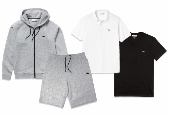 Lacoste Motion hoodie and shorts. Plus a classic polo and v-neck-tee