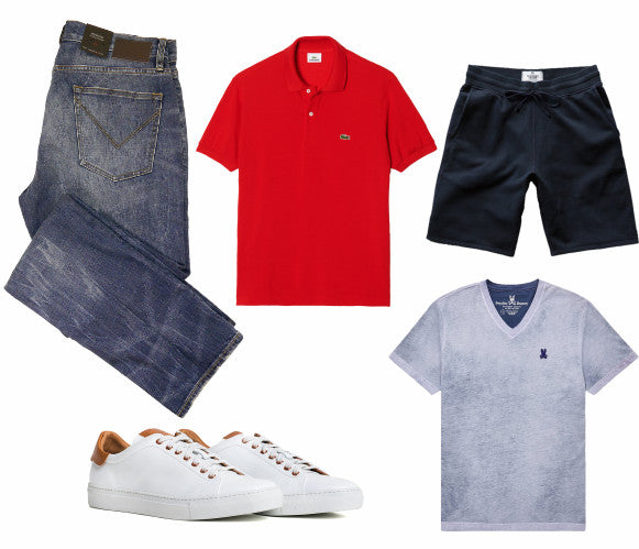John Varvatos Star USA jeans, Lacoste polo, Reigning Champ shorts, Good Man Brand shoes, Psycho Bunny tee