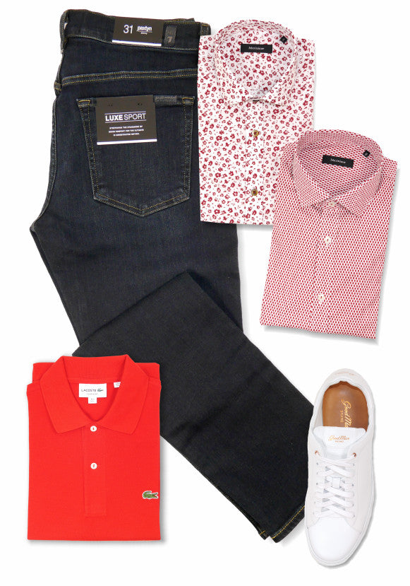 Seven for All Mankind jeans, Matinique shirts, Lacoste polo and Good Man Brand shoes.