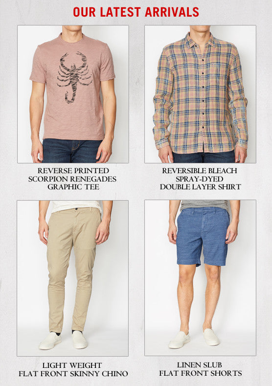 John Varvatos Star USA latest arrivals - Scorpion tee - reversible shirt - skinny chino - linen shorts