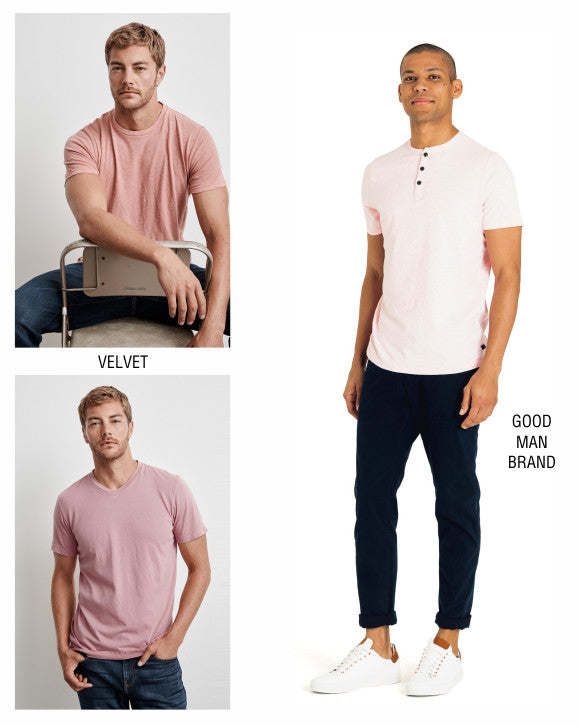 Velvet gumdrop coloured tees and Good Man Brand rose henley