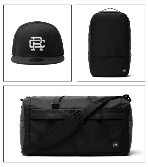 Reigning Champ hat, backpack and duffle bag.