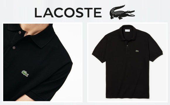 Lacoste black polo detail images.
